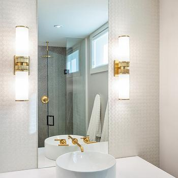 Wall Sconce Height Bathroom Above Sink : Gold Faucet - Contemporary - bathroom - Madison Taylor Design