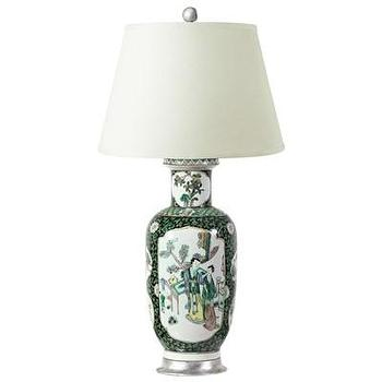Lighting - Bungalow 5 Camelia Table Lamp I Layla Grayce - asian table lamp, green blue and brown asian table lamp, asian table lamp on silver leafed base,