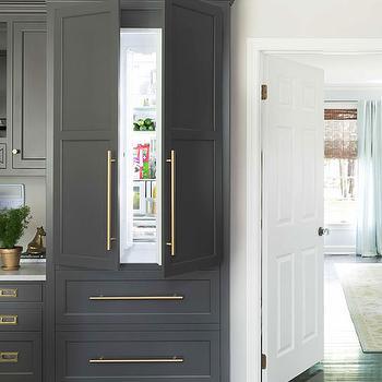 Gray Refrigerator, Transitional, kitchen, Benjamin Moore Silhouette, House Beautiful