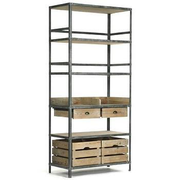 Storage Furniture - Zentique Furniture Arley Rack I Layla Grayce - metal and wood bookcase, industrial style bookcase, antiqued metal and recycled wood shelves,