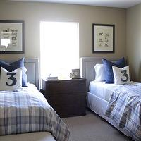 Alice Lane Home - boy's rooms - shared kids room, shared kids bedroom, shared boys room, shared kids bedroom, twin beds, upholstered headboard, shared nightstand, numbered pillows, white and blue bedding, plaid bedding, kids bedding, nailhead ottomans,