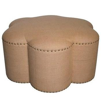 Seating - Chanel Ottoman I Layla Grayce - flower shaped burlap ottoman, flower shaped burlap ottoman with nailhead trim, burlap ottoman with nailhead trim,