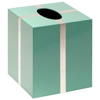 Decor/Accessories - Bungalow 5 Chiffany Blue Tissue Box Holder I Layla Grayce - tiffany blue tissue box holder, tiffany blue and silver tissue box holder, tiffany blue tissue box holder with silver trim, lacquered tiffany blue tissue box holder, lacquered tiffany blue and silver tissue box holder, lacquered tiffany blue tissue box holder with silver trim,