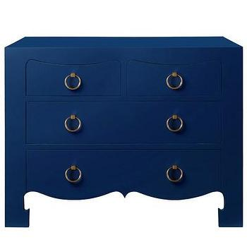 Storage Furniture - Bungalow 5 Jacqui Navy 4-Drawer Chest I Layla Grayce - navy blue 4 drawer chest, navy blue nightstand, navy blue lacquered nightstand, navy blue lacquered nightstand with gold ring pulls,