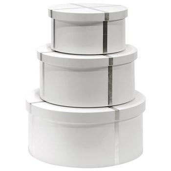 Decor/Accessories - Bungalow 5 Chiffany White Round Nesting Box Set I Layla Grayce - white and silver round boxes, white nesting boxes with silver stripe, white and silver nesting round boxes, lacquered white and silver round boxes, lacquered white nesting boxes with silver stripe, lacquered white and silver nesting round boxes,
