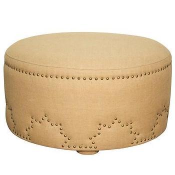 Seating - Hailey Ottoman I Layla Grayce - round burlap ottoman, round burlap ottoman with nailhead trim, burlap ottoman with nailhead trim,