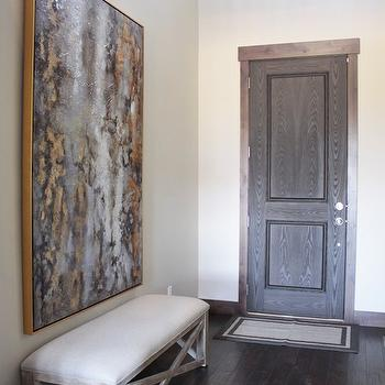 Alice Lane Home - entrances/foyers - foyer, entry, entrance, x bench, foyer bench, linen bench, abstract art, black and gold art, foyer art,
