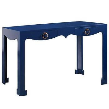 Tables - Bungalow 5 Jacqui Navy Console/Desk I Layla Grayce - navy blue console table, navy blue console table with gold ring pulls, lacquered navy blue console table with gold ring pulls, lacquered navy blue desk with gold ring pull hardware,