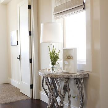 Alice Lane Home - entrances/foyers - faux bois table, silver faux bois table, branch table, silve rbarnch table, demilune table, silver demilune table, half moon table, silver half moon table, tapered lamp, linen roman shade, foyer table,
