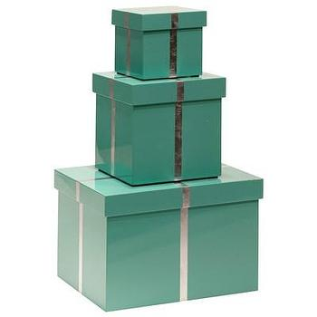 Decor/Accessories - Bungalow 5 Chiffany Blue Rectangle Nesting Box Set I Layla Grayce - tiffany blue nesting boxes, lacquered tiffany blue boxes, lacquered tiffany blue box with silver trim, tiffany blue boxes with silver trim,