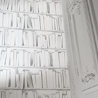 Wallpaper - White Library Wallpaper I Layla Grayce - white library wallpaper, white bookcase wallpaper, white bookshelf wallpaper, white and gray library wallpaper, white and gray bookshelf wallpaper,