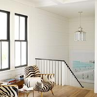 House Beautiful - entrances/foyers - zebra chairs, black and white chairs, black and white zebra chairs, mirrored accent table, second floor landing,