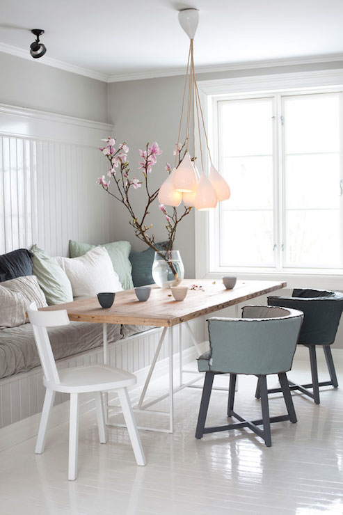Beadboard Banquette Cottage Dining Room Interior