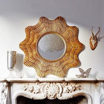 Mirrors - Hand Crafted Shell Mirror I Graham and Green - gold shell mirror, hand carved gold shell mirror, scalloped gold framed mirror,