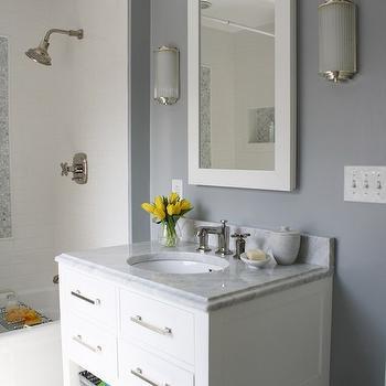 White Lacquered Mirror, Contemporary, bathroom, Benjamin Moore Marina Gray, Simply Modern Home