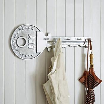 Art/Wall Decor - Key Coat Rack I Graham and Green - key coat rack, silver key shaped coat rack, key shaped coat hook,