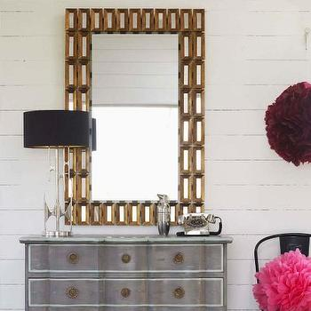Mirrors - The Pez Mirror I Graham and Green - gold mirror framed mirror, gold geometric framed mirror, gold rectangular wall mirror,