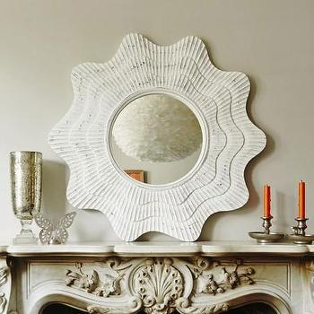 Mirrors - White Hand Crafted Shell Mirror I Graham and Green - white carved shell mirror, white scalloped frame mirror, distressed white scalloped wall mirror,