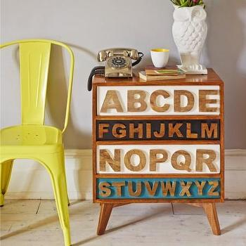 Storage Furniture - Wordsworth Chest of Drawers I Graham and Green - typography chest of drawers, alphabet chest of drawers, typographic chest of drawers,