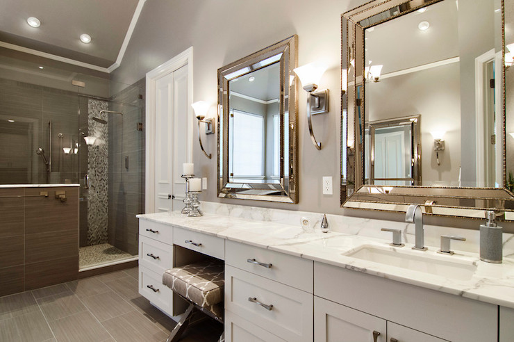 Sherwin-Williams Grey and White Bathroom