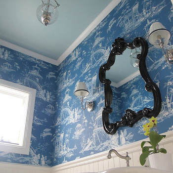 Blue Toile Wallpaper, Transitional, bathroom, Georgica Pond Interiors