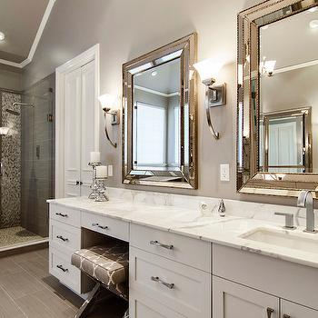 Beaded Beveled Mirror, Contemporary, bathroom, Sherwin Williams Functional Gray, Hatfield Builders and Remodelers