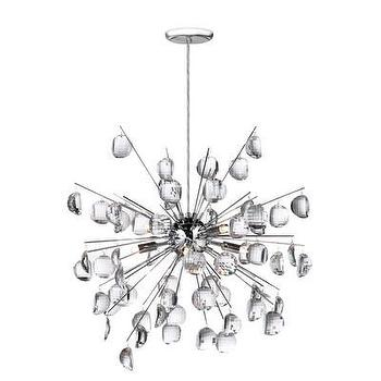 Lighting - Dainolite Crystal Wafers 8 Light Pendant | Wayfair - crystal and polished chrome sputnik, contemporary crystal sputnik style pendant, polished chrome and crystal droplet sputnik style pendant,