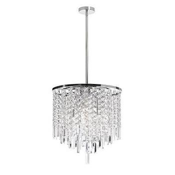 Lighting - Dainolite 6 Light Crystal Convertible Pendant | Wayfair - contemporary crystal pendant, polished chrome and crystal pendant, polished chrome pendant with crystal droplets,
