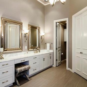 White and Grey Bathroom, Contemporary, bathroom, Sherwin Williams Functional Gray, Hatfield Builders and Remodelers