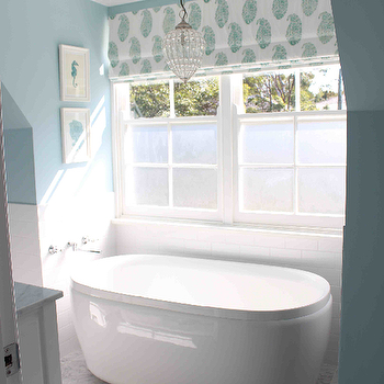 Georgica Pond Interiors - bathrooms - sash windows, double hung windows, double hung sash windows, freestanding tub, freestanding bath, bath niche, tub niche, bath below window, tub below window, bath under window, tub under window, subway tile, white subway tile, nautical art, seahorse art, coral art, marble floor tile, marble tiled floors, blue and white striped rug, blue and white striped bath mat, wall mount faucet, wall mounted faucet, paisley roman shade, blue and white paisley window shade, blue walls, blue wall color, blue and white bathroom, crystal pendant, beaded crystal pendant, tub nook, bathtub nook, bathtub chandelier, white and blue roman shade, tub under window, bathtub under window, wall tub filler, wall mount tub filler, gray marble tiles, gray marble floor,