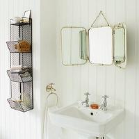 Bath - Tri-Fold Wall Hung Mirror I Graham and Green - art deco style tri fold mirror, vintage style tri-fold mirror, metal framed tri-fold vanity mirror, vintage style vanity mirror,