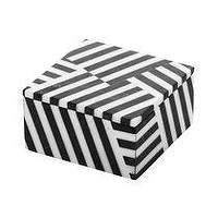 Decor/Accessories - Fractured Box I Kelly Wearstler - black and white striped box, black and white fractured striped box, black and white geometric box,