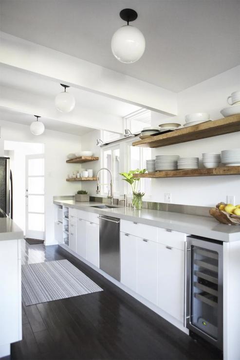 Rustic floating shelf contemporary kitchen studio one - Modern kitchen shelving ...