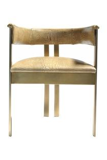 Seating - Elliot Chair in Antique Brass I Kelly Wearstler - brass framed armchair, modern brass armchair, antiqued brass armchair,