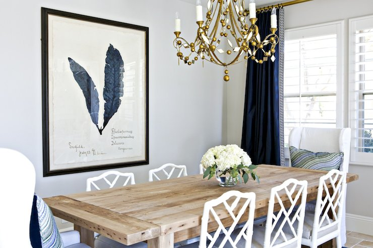 White and navy dining room transitional dining room for Navy dining room ideas