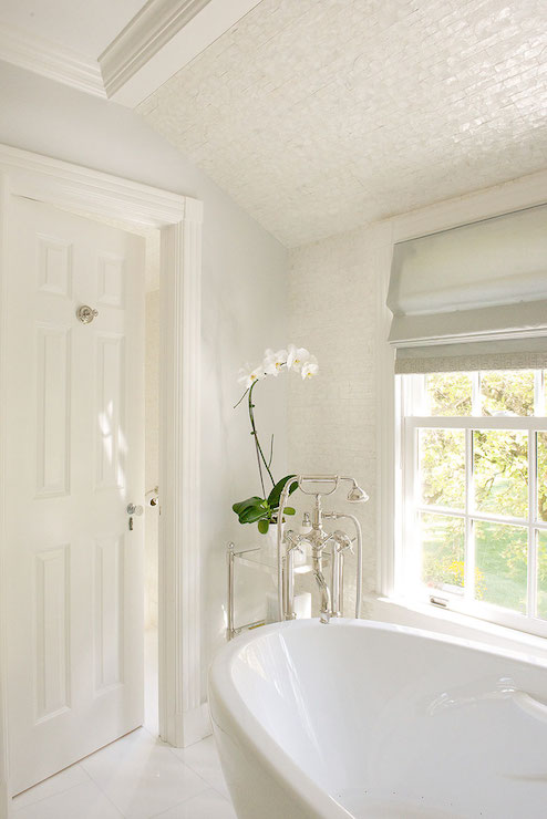 Iridescent Tiled Ceiling Transitional Bathroom Laura