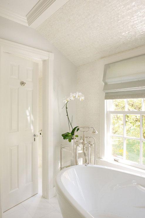 Iridescent Tiled Ceiling Transitional Bathroom Laura
