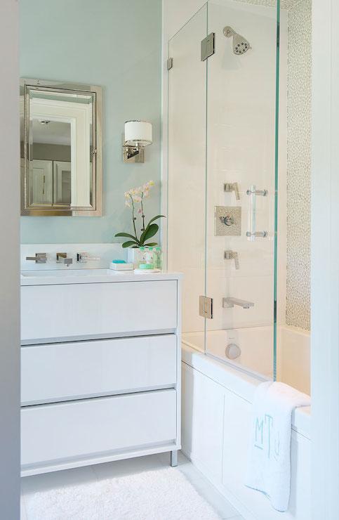 White and green bathroom contemporary bathroom laura for Seafoam green bathroom ideas