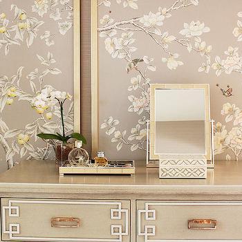 Laura Tutun Interiors - closets - tiled box, mosaic box, mosaic tiled box, bone inlay box, mirrored tray, gray chest, gray panels, gray chinoiserie panels, chinoiserie panels, gray dressing room, chinoiserie dressing room, chinoiserie closet, gray closet,