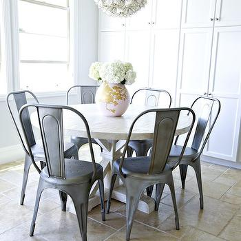 Studio McGee - dining rooms - flower chandelier, capiz flower chandelier, lotus chandelier, round dining table, cross leg dining table, crossed leg dining table, tolix dining chairs,