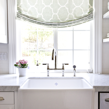 Shea McGee Design - kitchens - farmhouse sink, kitchen shade, kitchen roman shade, riad fabric, seafoam riad fabric, kitchen window treatment, seafoam green roman shade, bridge faucet, carrera marble, carrera marble countertop,