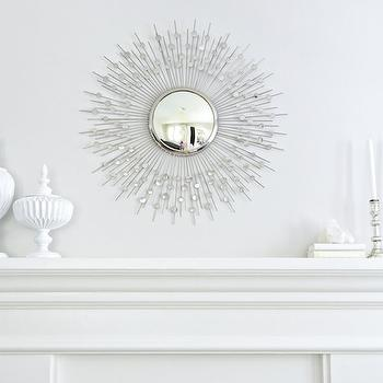 Studio McGee - living rooms - Benjamin Moore - Balboa Mist - silver sunburst mirror, sunburst mirror, fireplace mantle, fireplace mantel accessories, white fireplace mantle,