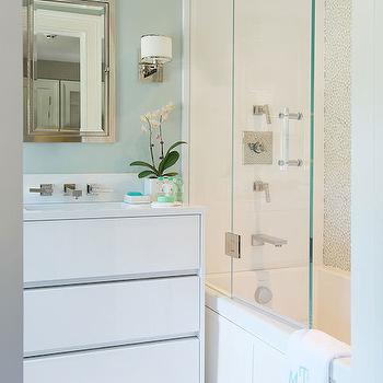 White and Green Bathroom, Contemporary, bathroom, Laura Tutun Interiors