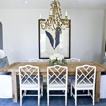 White Bamboo Chairs, Transitional, dining room, Benjamin Moore Balboa Mist, Studio McGee