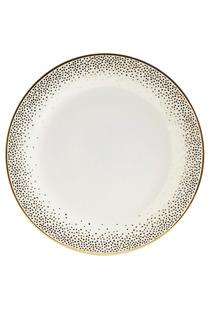 Decor/Accessories - Dinner Plate I Kelly Wearstler - ivory dinner plate with gold dots, ivory and metallic gold dinner plate, ivory dinner plate with gold polka dots,