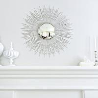 Shea McGee Design - living rooms - silver sunburst mirror, sunburst mirror, fireplace mantle, fireplace mantel accessories, white fireplace mantle,