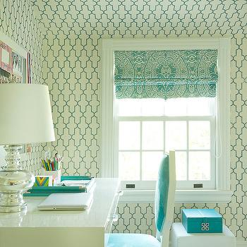 Turquoise Moroccan Wallpaper, Contemporary, girl's room, Laura Tutun Interiors