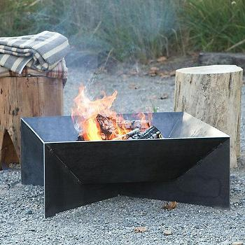 Decor/Accessories - Geometric Fire Pit I Terrain - square shaped steel fire pit, geometric steel fire pit, solid steel fire pit, contemporary steel fire pit,