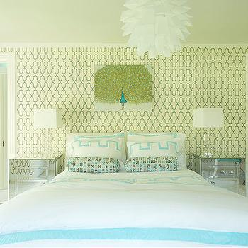Laura Tutun Interiors - girl's rooms - damask roman shade, damask roman shade, turquoise damask roman shade, turquoise blue jewelry box, moroccan wallpaper, turquoise moroccan wallpaper, moorish tile wallpaper, turquoise moorish tile wallpaper, kids wallpaper, white and turquoise kids room, white and turquoise girls room, white and turquoise blue room, peacock art, white and turquoise bedding, kids bedding, teen girl bedding, white and turquoise shams, teen bedding, teen wallpaper, mirror nightstands, mirrored nightstands, mirrored door, closet door, mirrored closet door, artichoke pendant, Phillip Jeffries Moroccan Wallpaper,