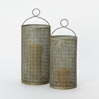 Decor/Accessories - Filigree Cutout Hurricane I Terrain - filigree cutout hurricane, filigree lantern hurricane, verdigris candle lantern, verdigris filigree candle hurricane,